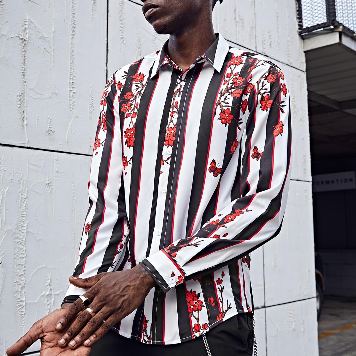 Пуговица цветочный отпуск мужские рубашки