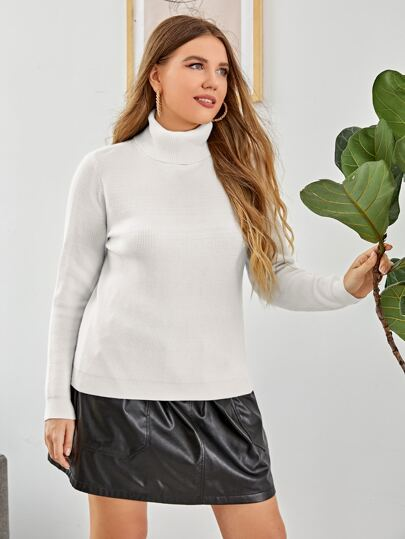 Plus High Neck Solid Sweater