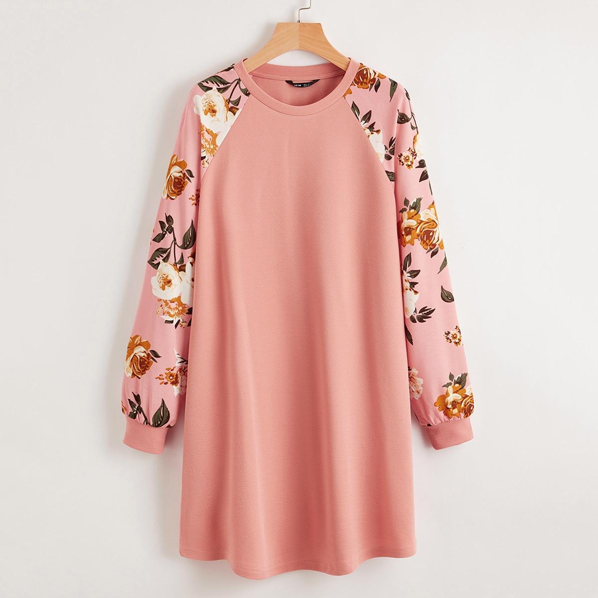 Платье-футболка с цветочным рукавом реглан