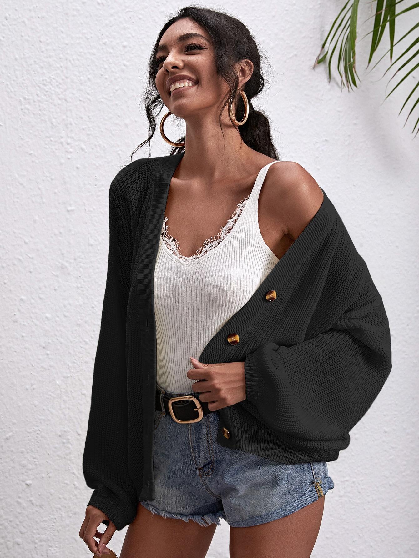 Button Front Drop Shoulder Oversized Cardigan thumbnail