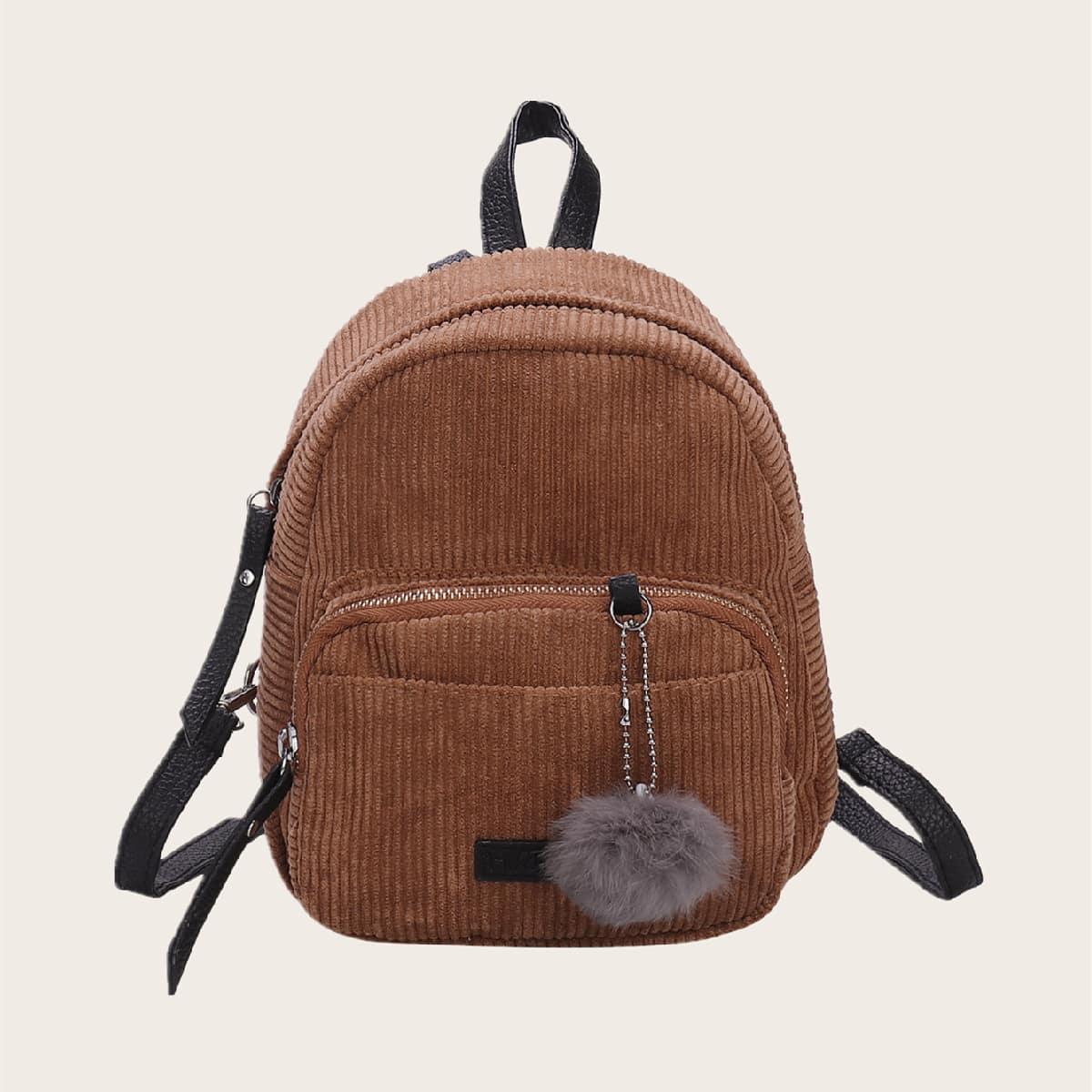 Рюкзак с карманом и помпоном