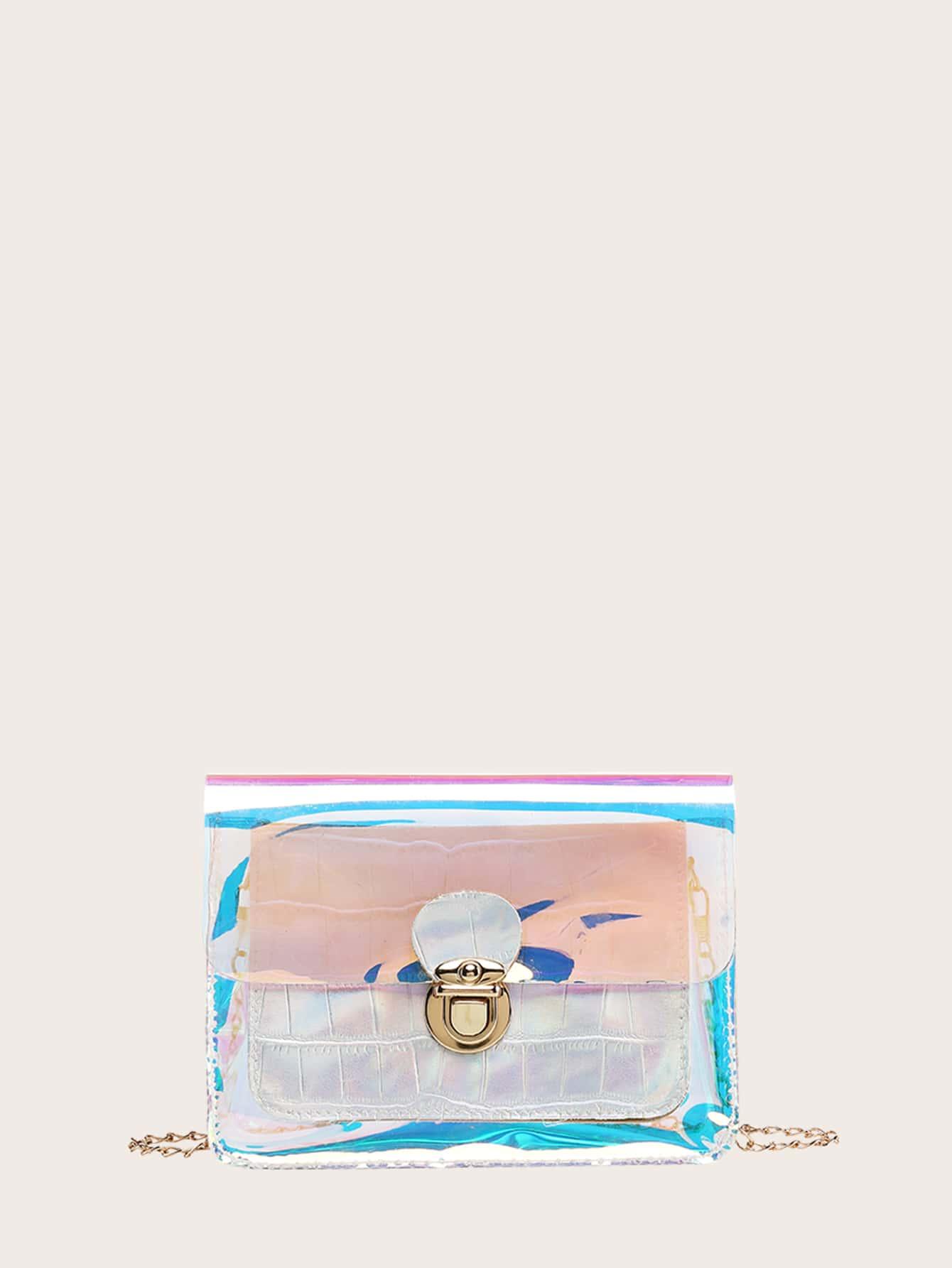 girls crocodile holographic crossbody bag