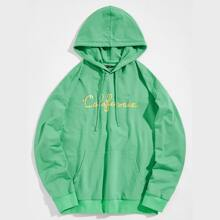 Guys Drawstring Detail Pouch Pocket Letter Graphic Hoodie