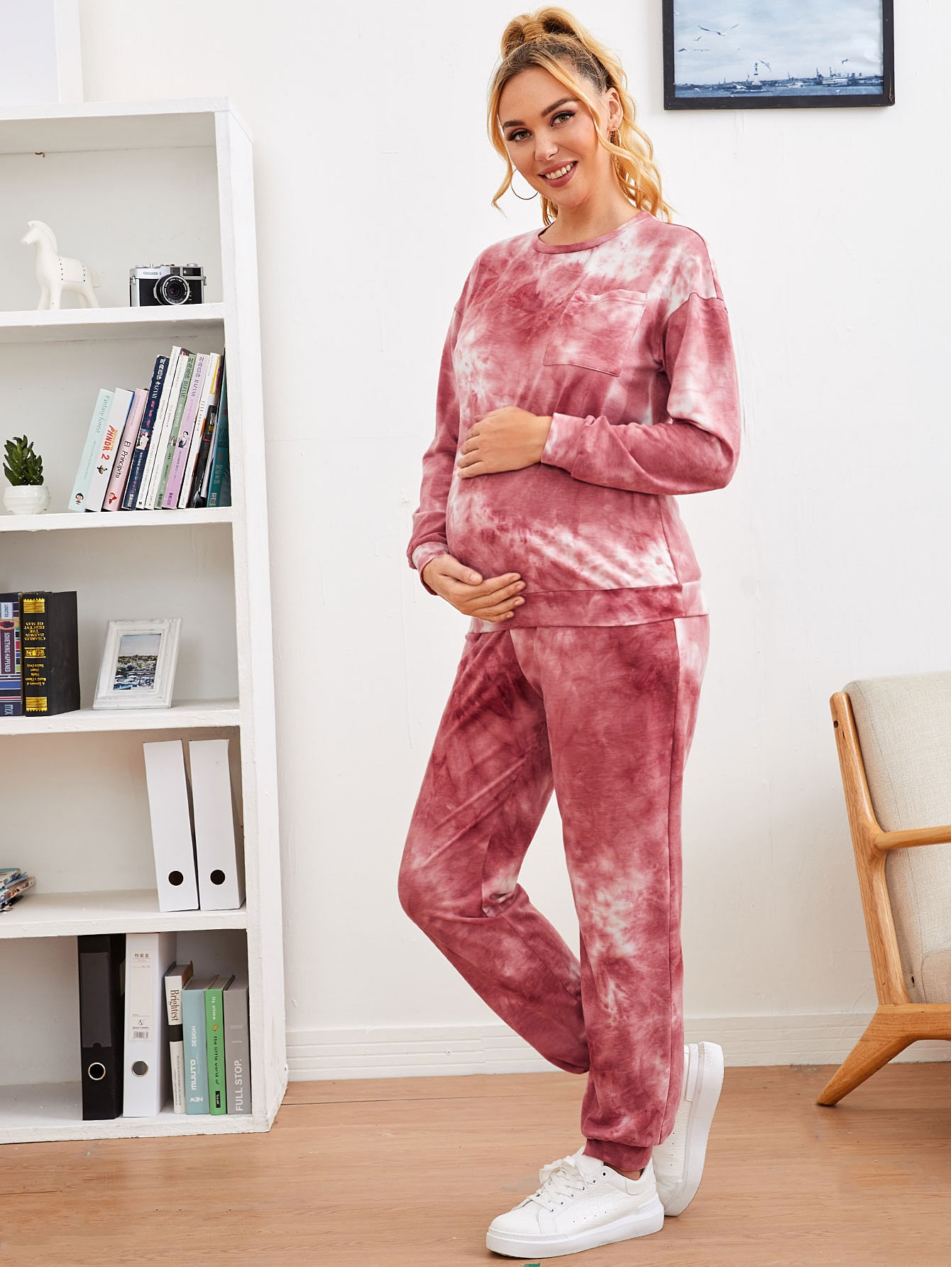 Maternity Patch Pocket Tie Dye Pullover & Joggers Set thumbnail