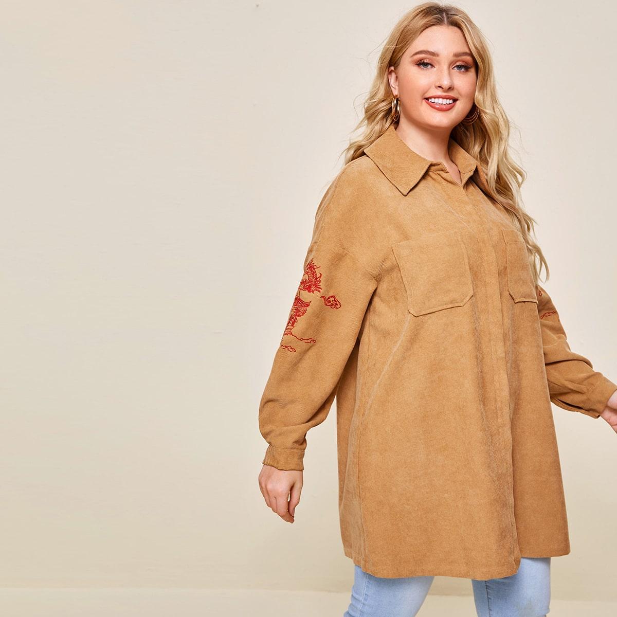 Вельветовое пальто размера плюс с вышивкой и карманом