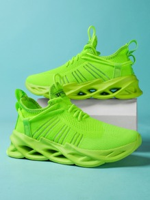 Neon Green Lace Up Decor Chunky Sneakers - $26.95