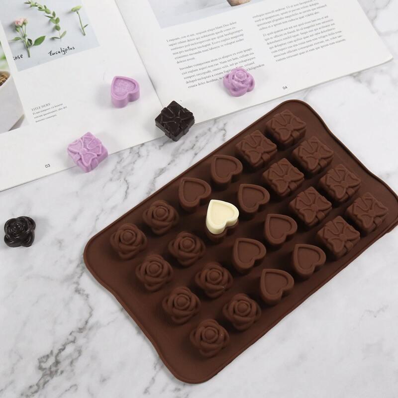 1pc 24 Grid Chocolate Mold, Coffee brown
