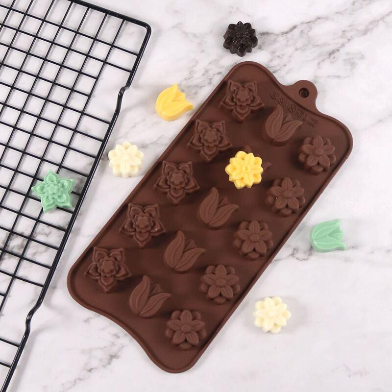 1pc 15 Grid Flower Chocolate Mold, Coffee brown