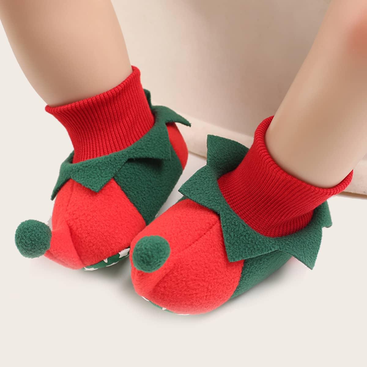 Рождественские двухцветные балетки для мальчиков