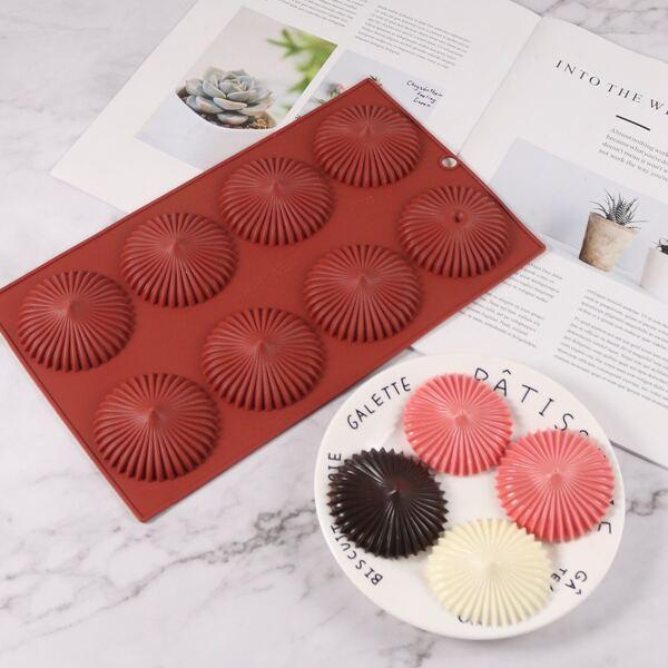 1pc 8 Grid Chocolate Mold, Burgundy