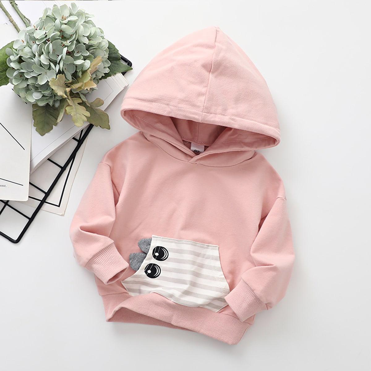 с карманами Полосатые изображения Повседневный Свитшоты для девочек