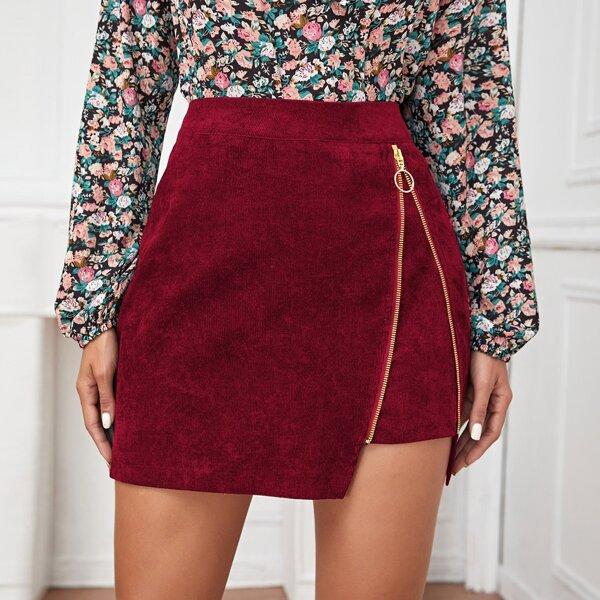 Corduroy O-ring Zip Detail Mini Skirt, Burgundy