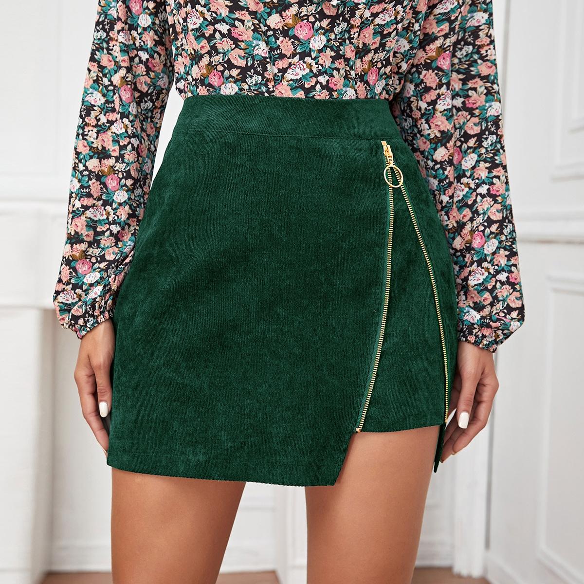 Вельветовая мини-юбка с молнией