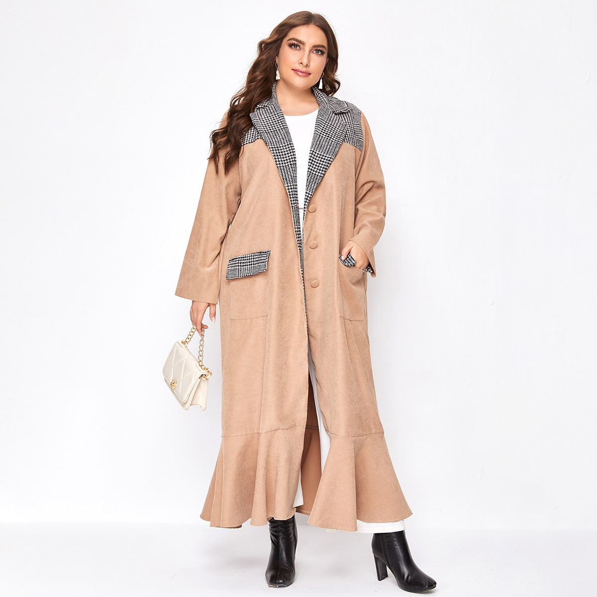 С карманами хаундстут повседневный плюс размеры пальто