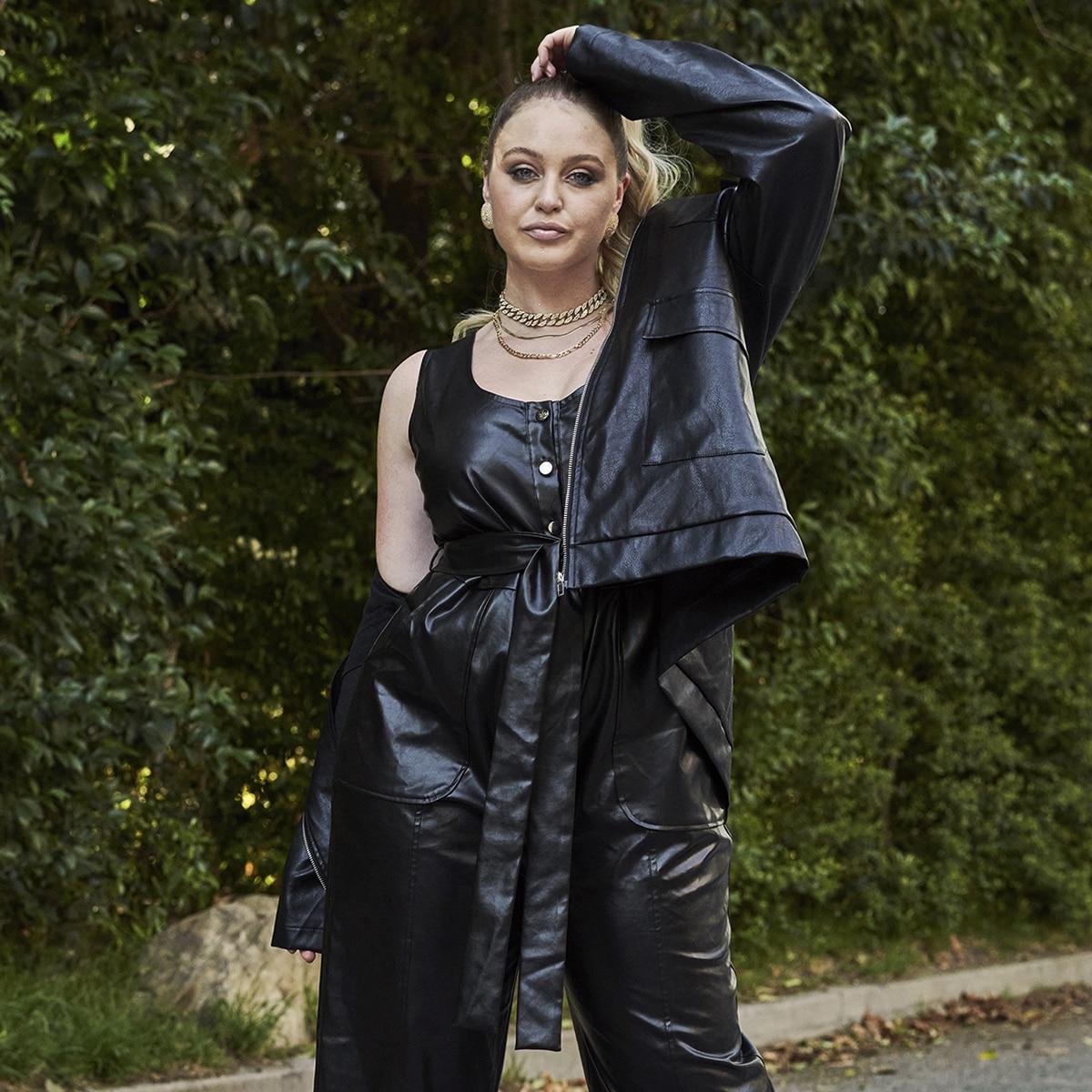 Пальто размера плюс из искусственной кожи с карманом