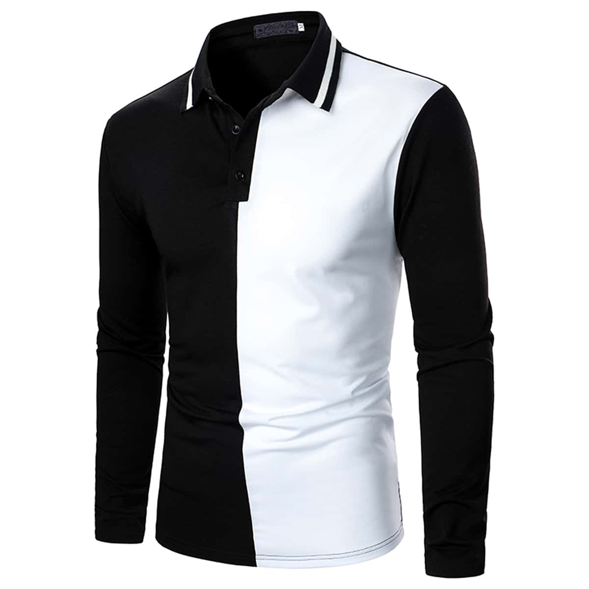 Men Two Tone Half Button Polo Shirt
