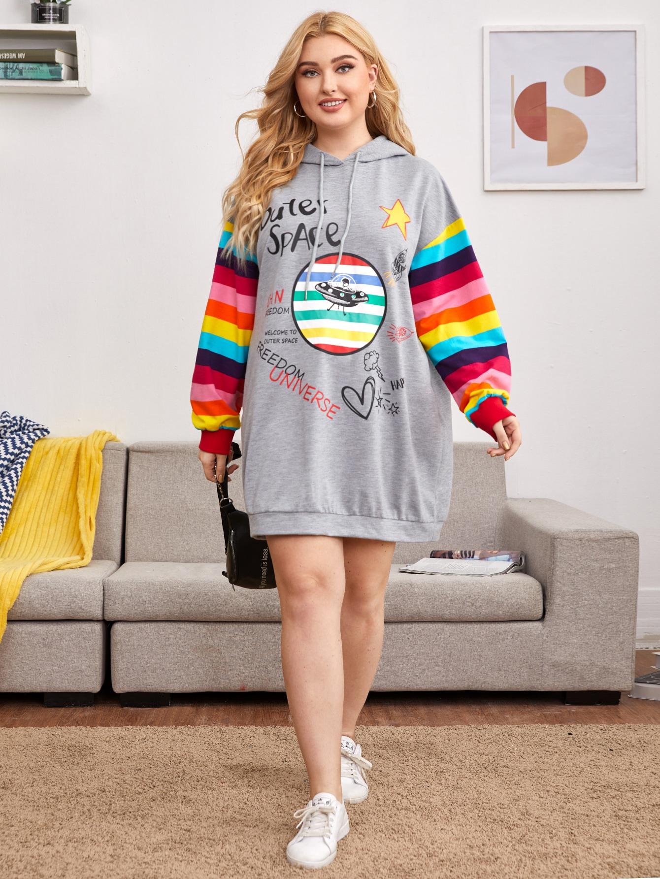 Plus Mixed Print Rainbow Striped Sleeve Hoodie Dress thumbnail