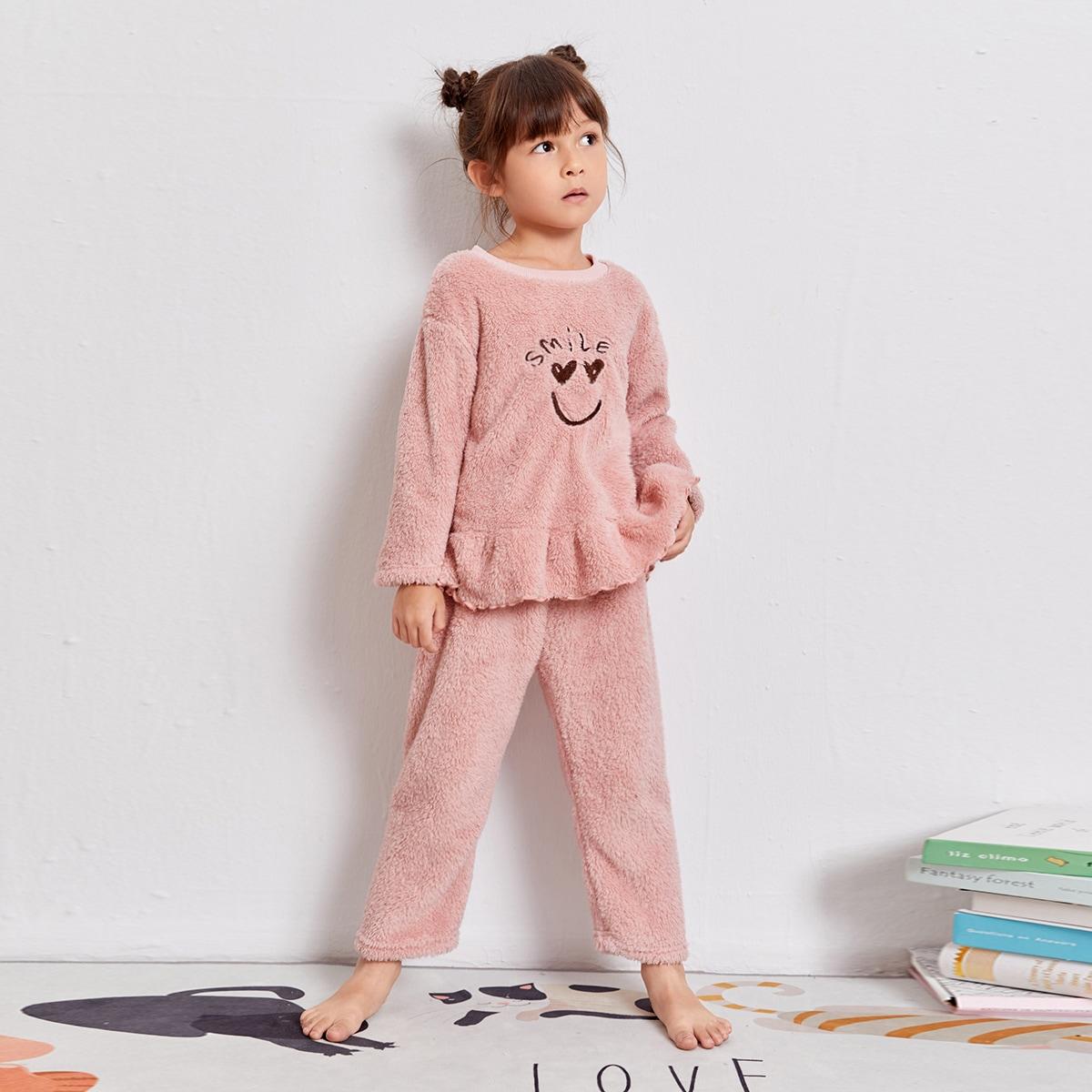 С вышивкой мультяшный принт милый домашняя одежда для девочек