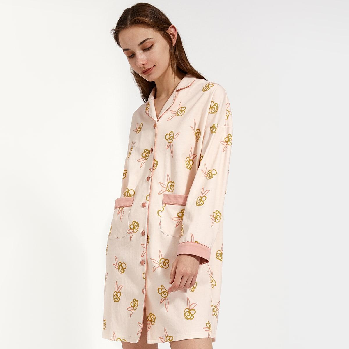 с карманами Со цветочками милый Ночная рубашка по цене 1 660