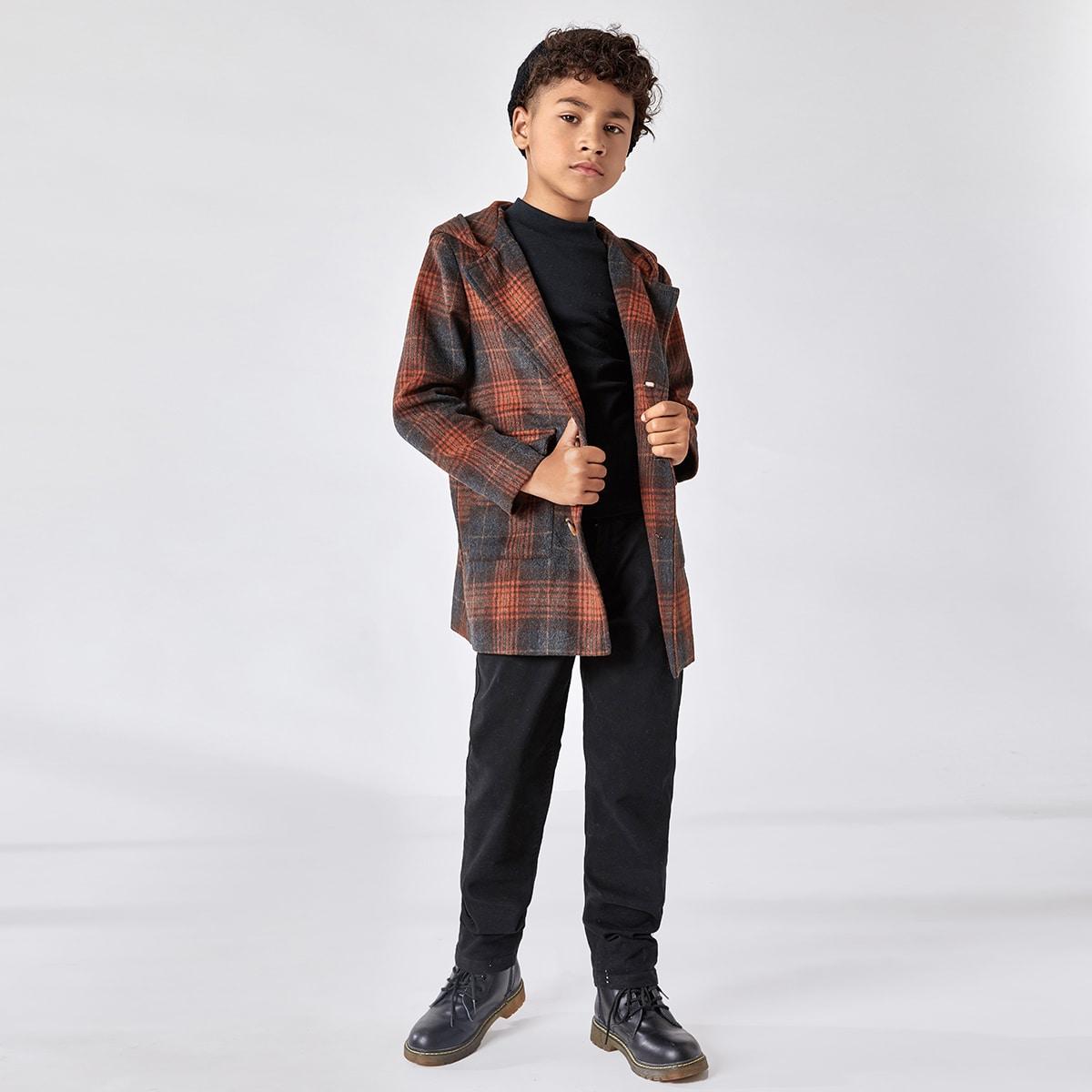 с карманами Клетчатый Институтский Пальто для мальчиков