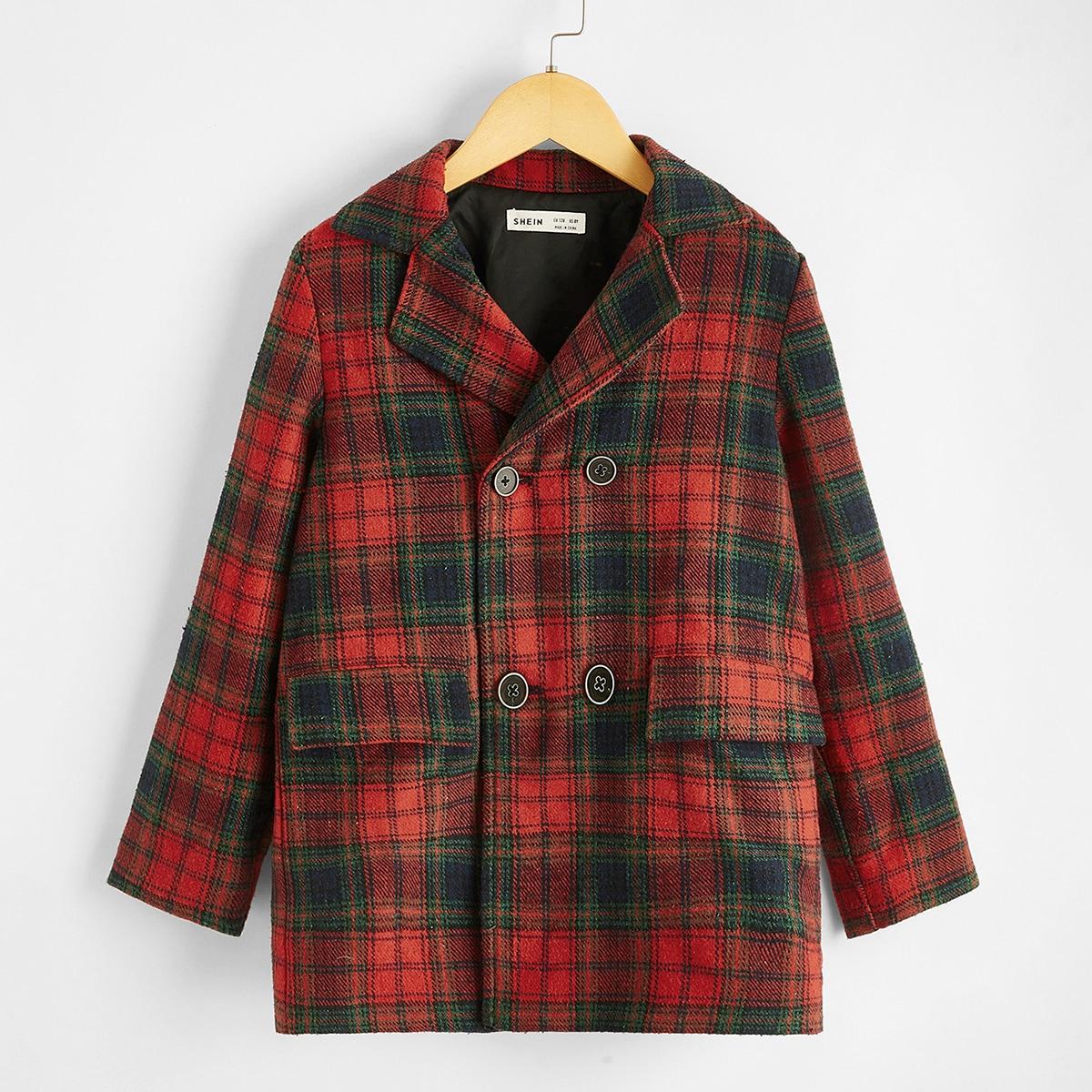 Mantel mit eingekerbtem Kragen, Knöpfen vorn und Plaid Muster
