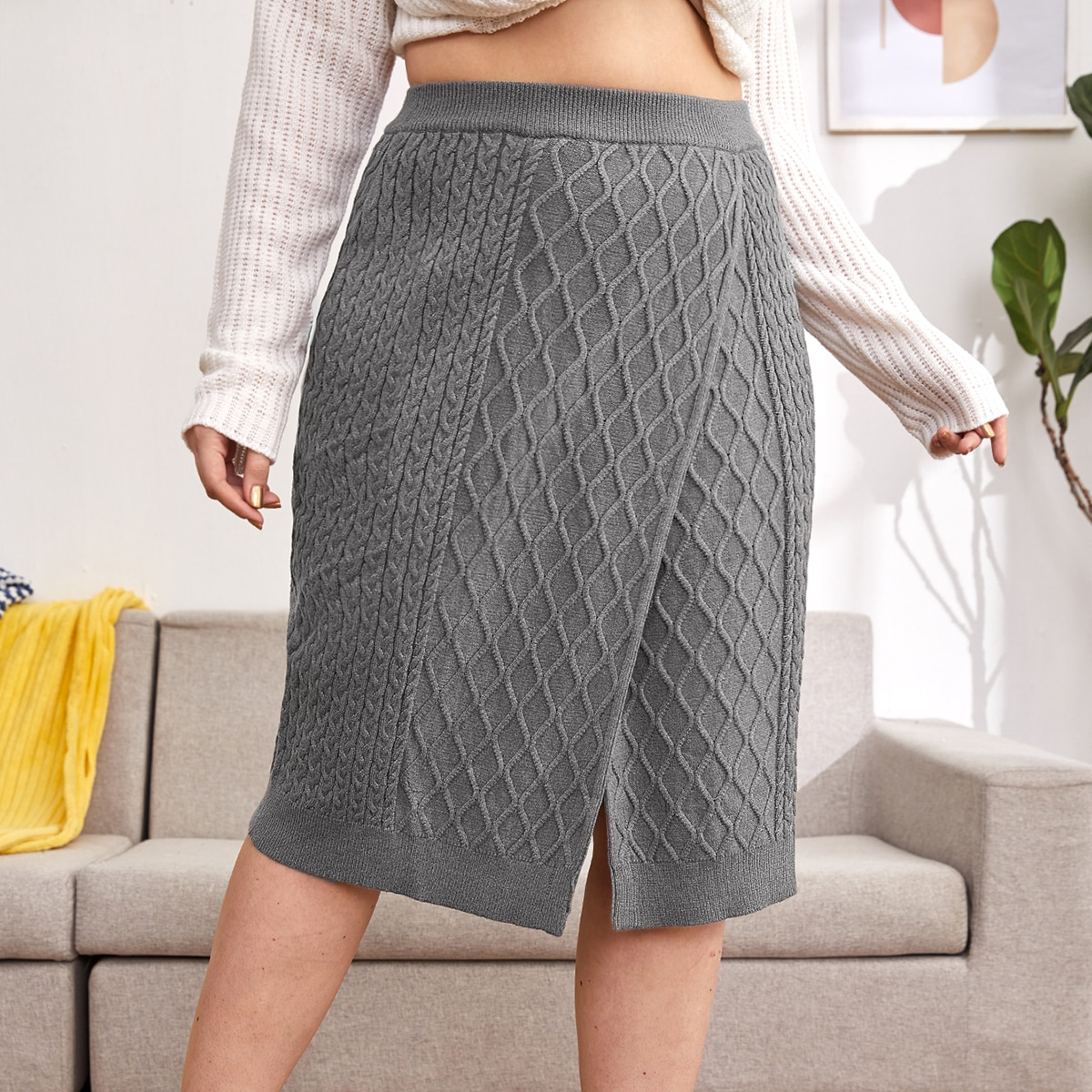 Вязаная юбка размера плюс