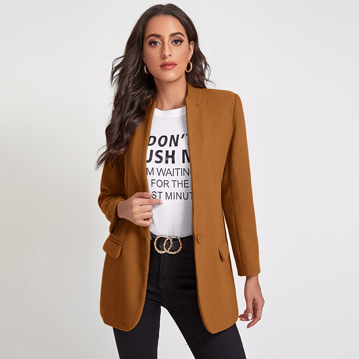 Single Button Fitted Blazer, SHEIN  - buy with discount