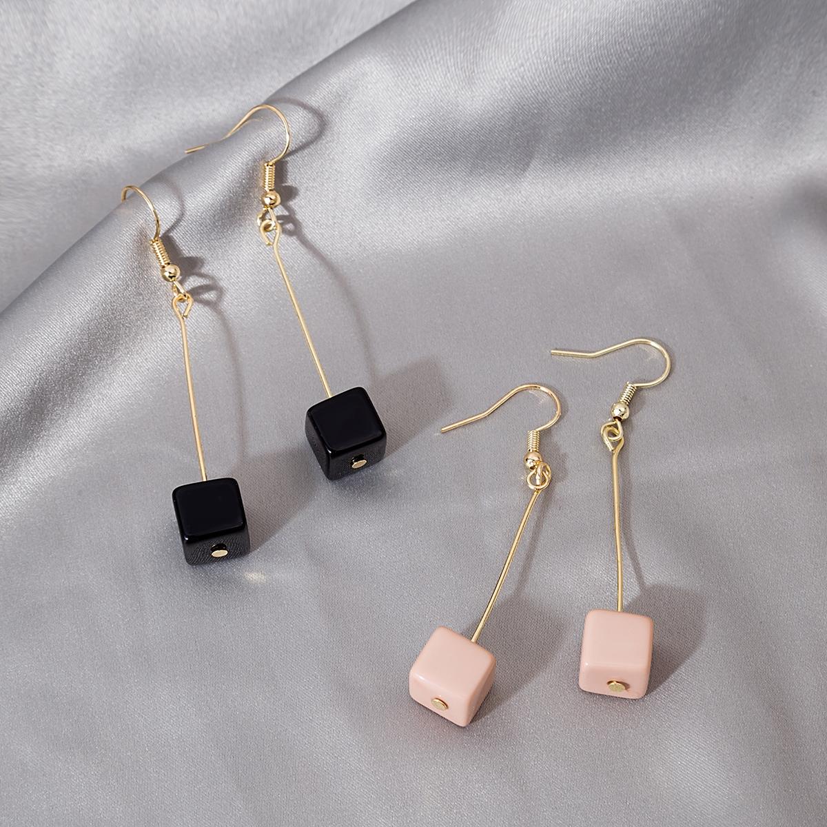 Геометрические серьги-подвески 2 пары
