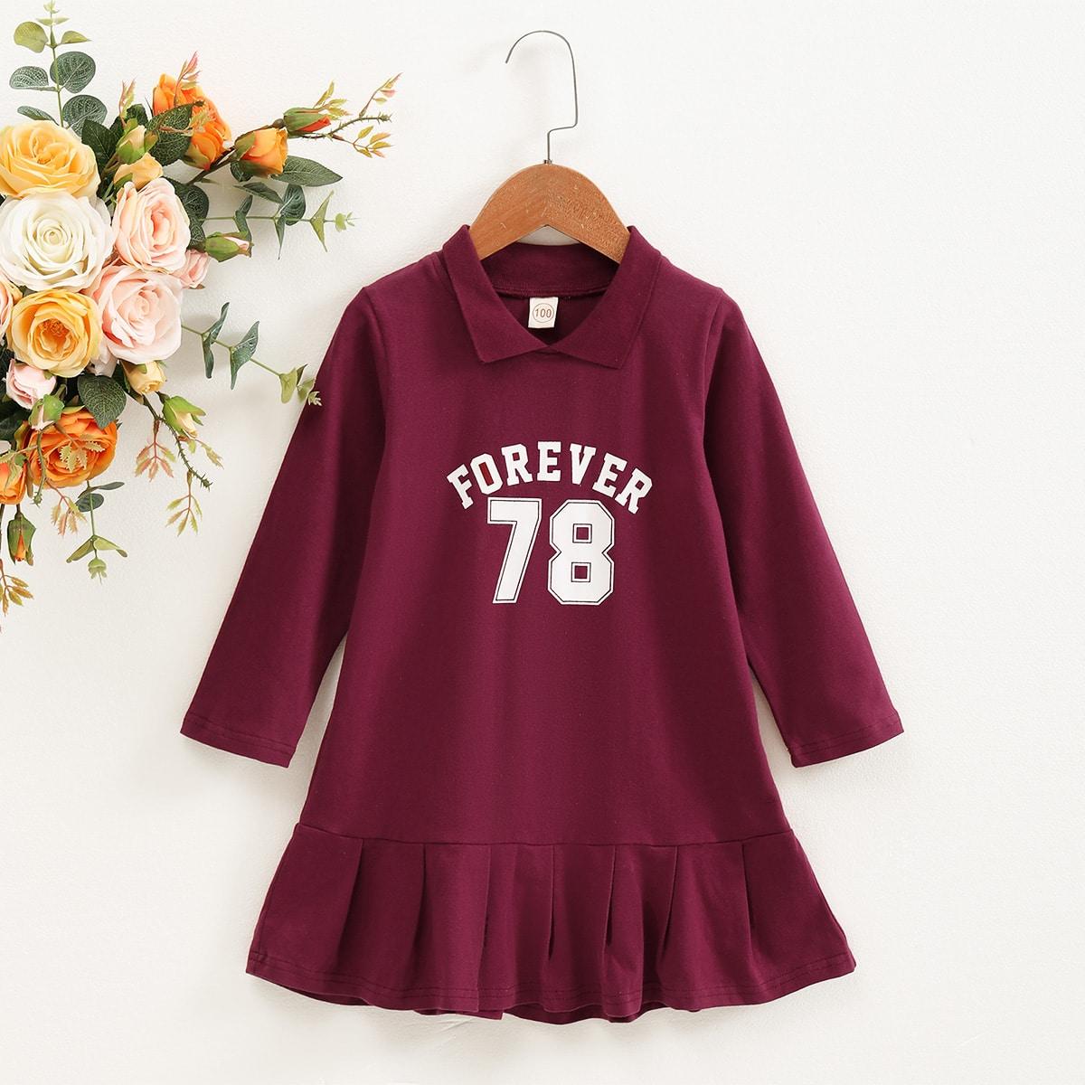 Плиссированное буква повседневный платья для девочек
