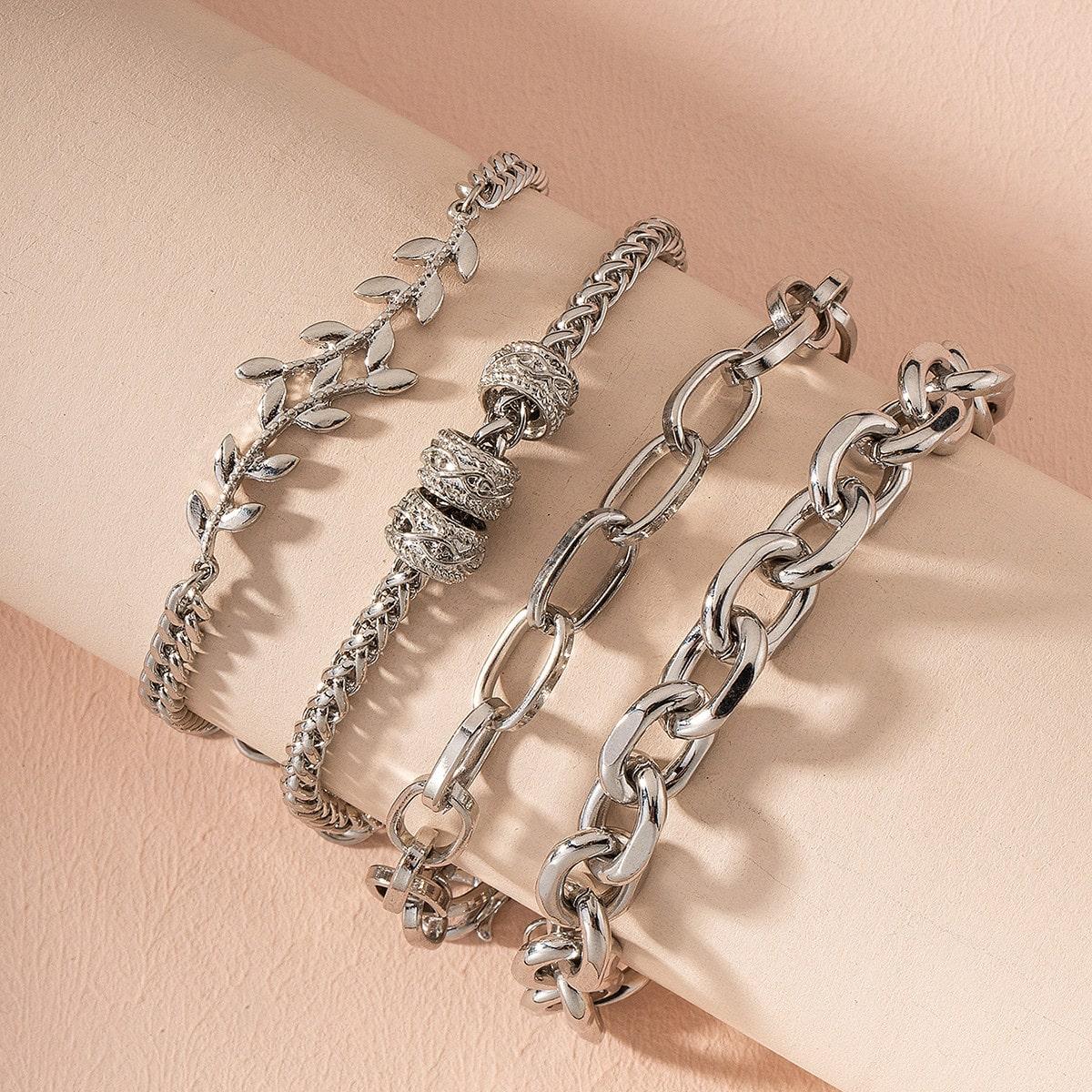 4 Stücke Armband mit Blatt Design