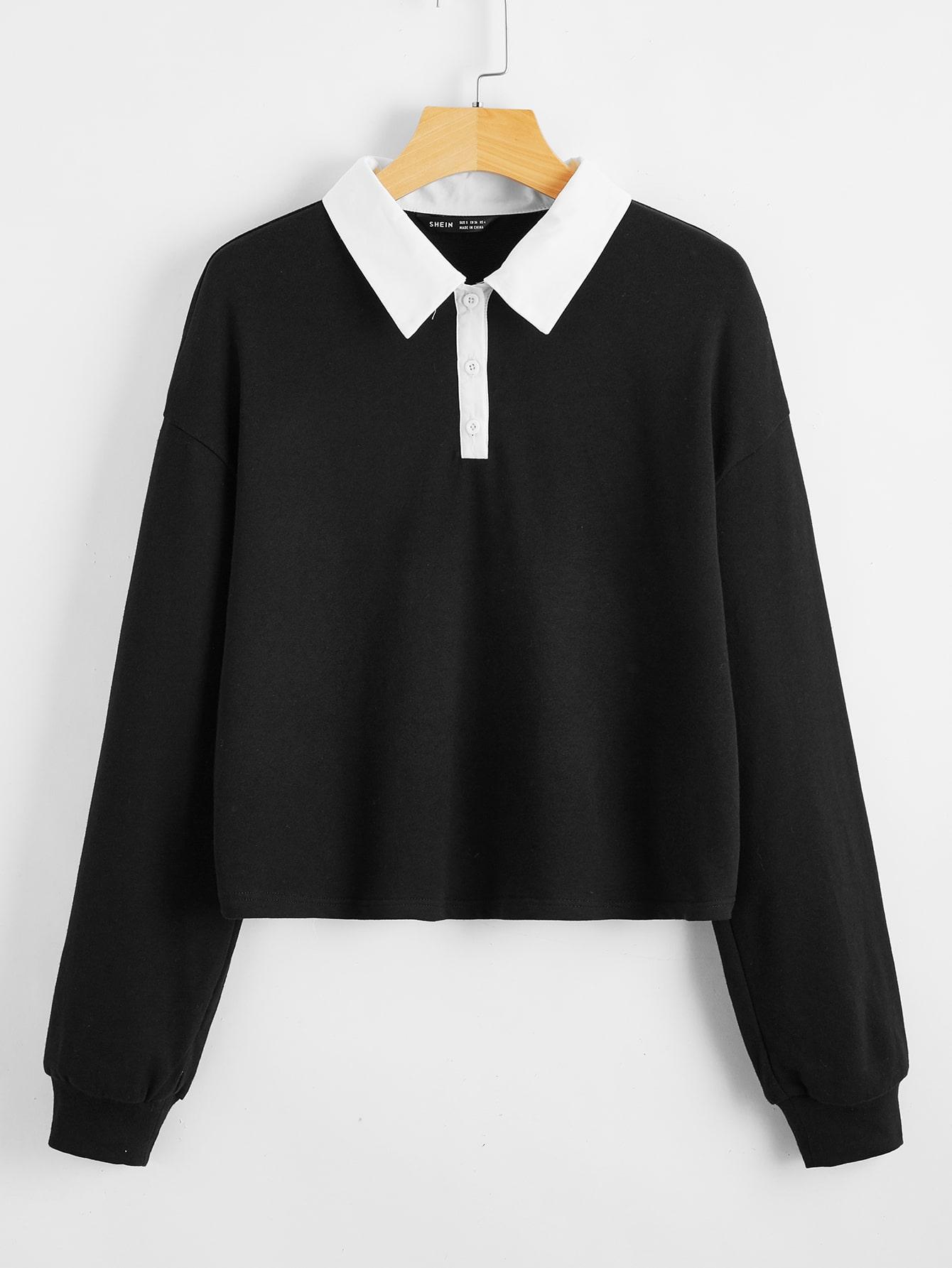 Drop Shoulder Polo Collar Pullover thumbnail