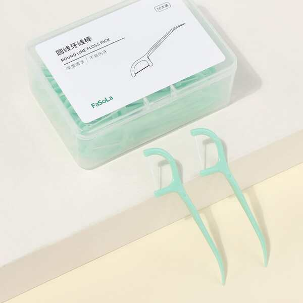 50pcs Round Line Floss Pick, Green