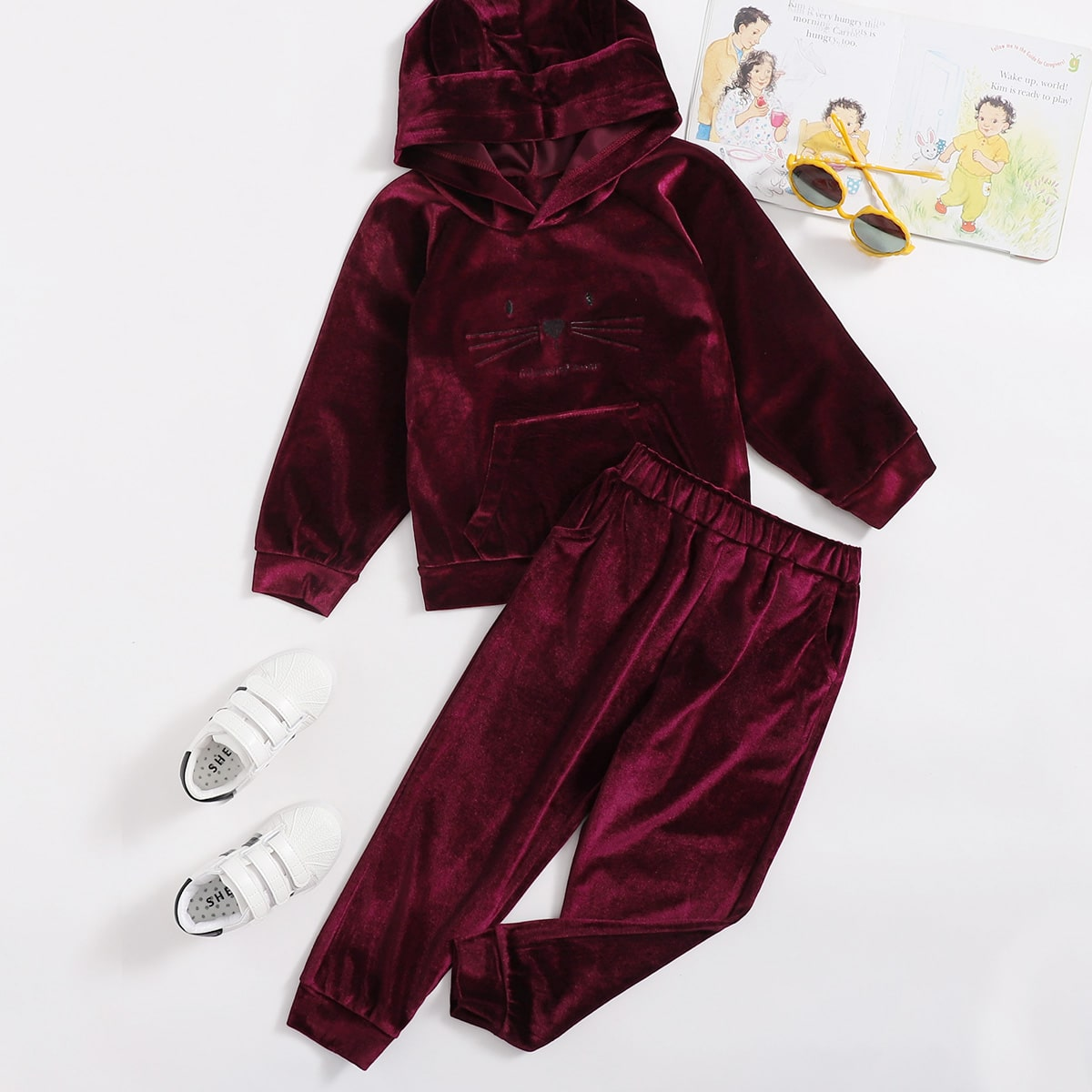 Toddler Girls Cartoon And Letter Embroidery Velvet Hoodie With Sweatpants