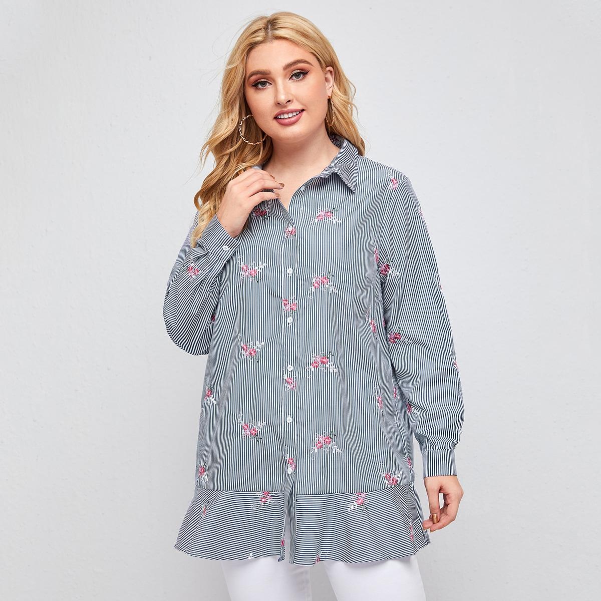 Низ-оборка цветочный повседневный блузы размер плюс