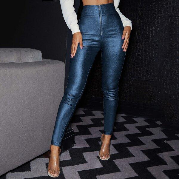 Metallic Faux Leather Zip-Up Skinny Pants, Blue