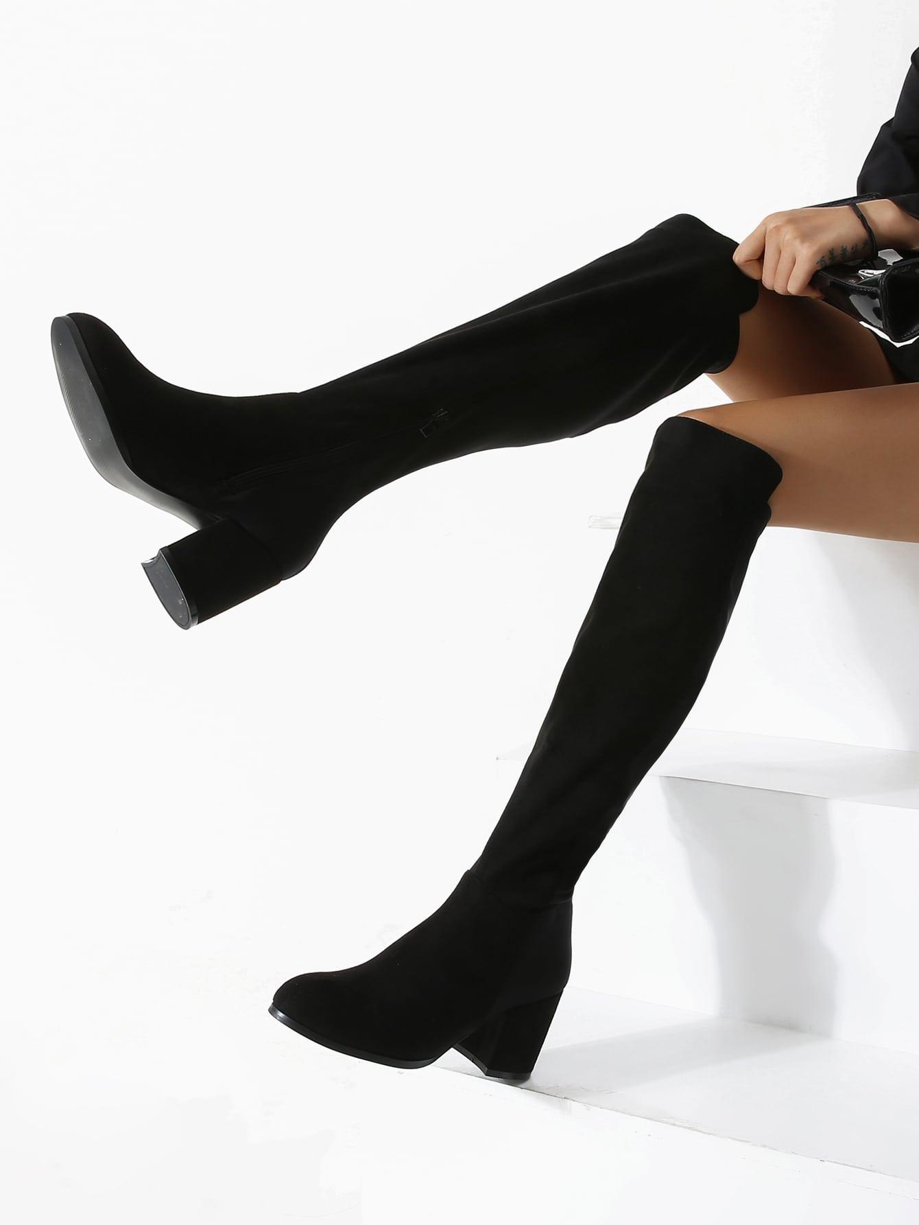 Side Zip Over The Knee Suede Boots