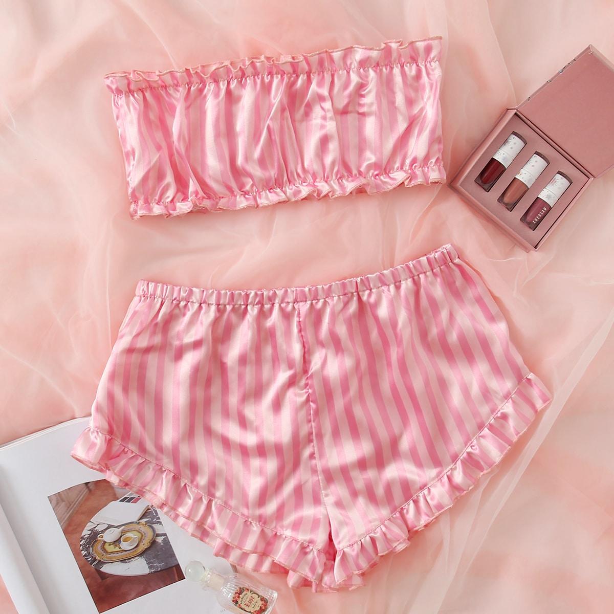 Атласная пижама в полоску
