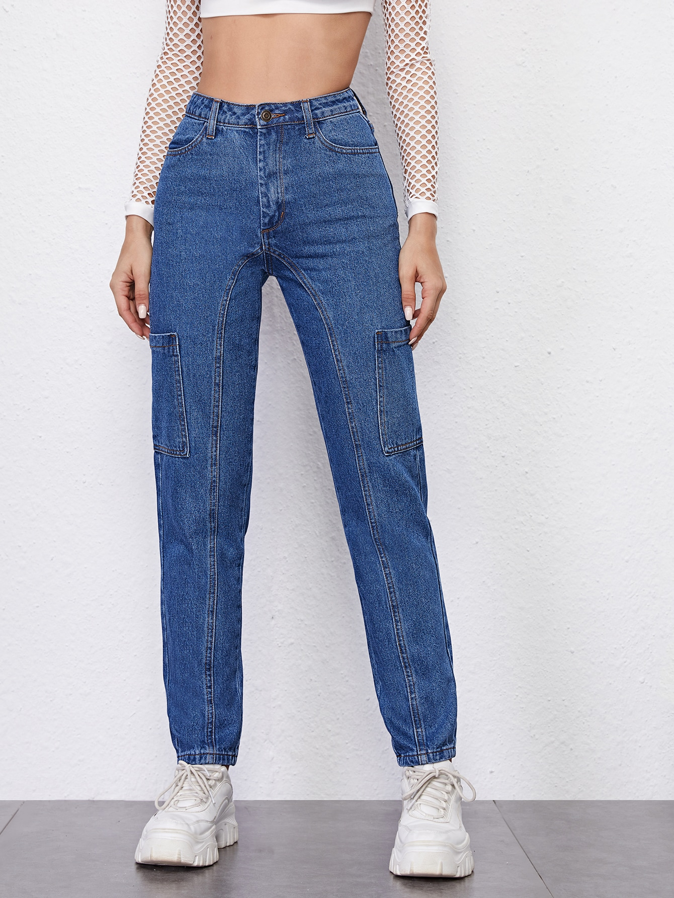 High Waist Patch Pocket Mom Jeans thumbnail