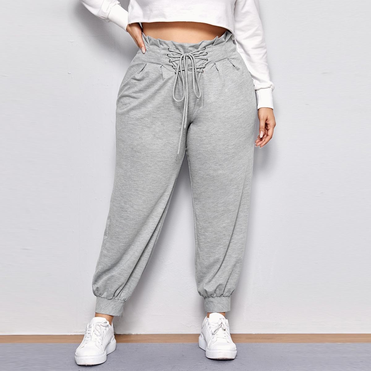 Спортивные брюки размера плюс с шнурком