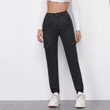 High Waist Patch Pocket Cargo Jeans