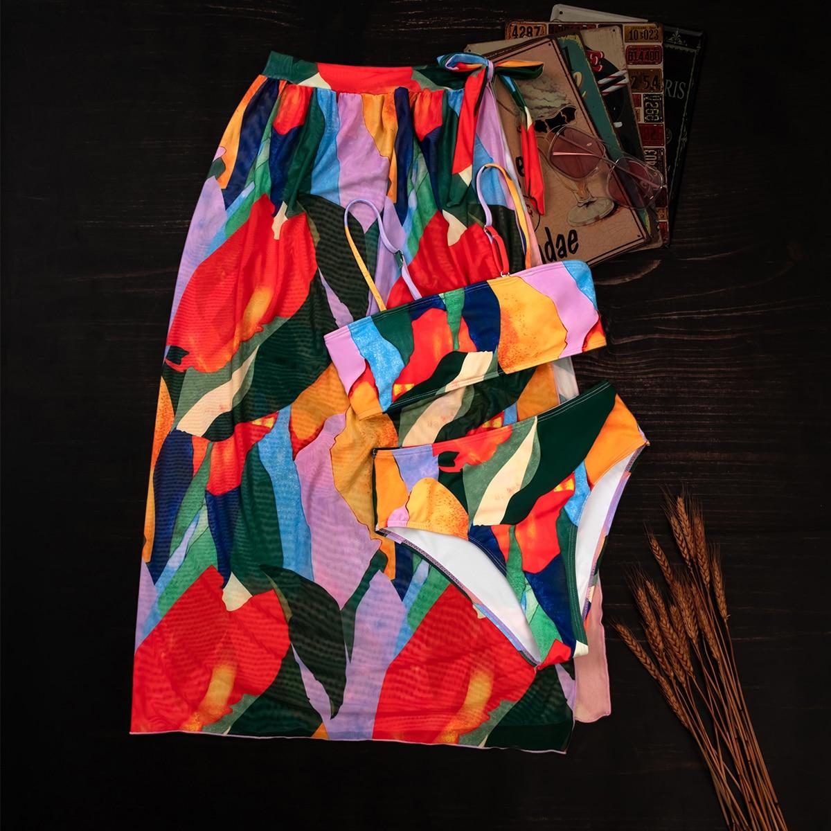 Пляжная юбка и бикини с рисунком 3шт