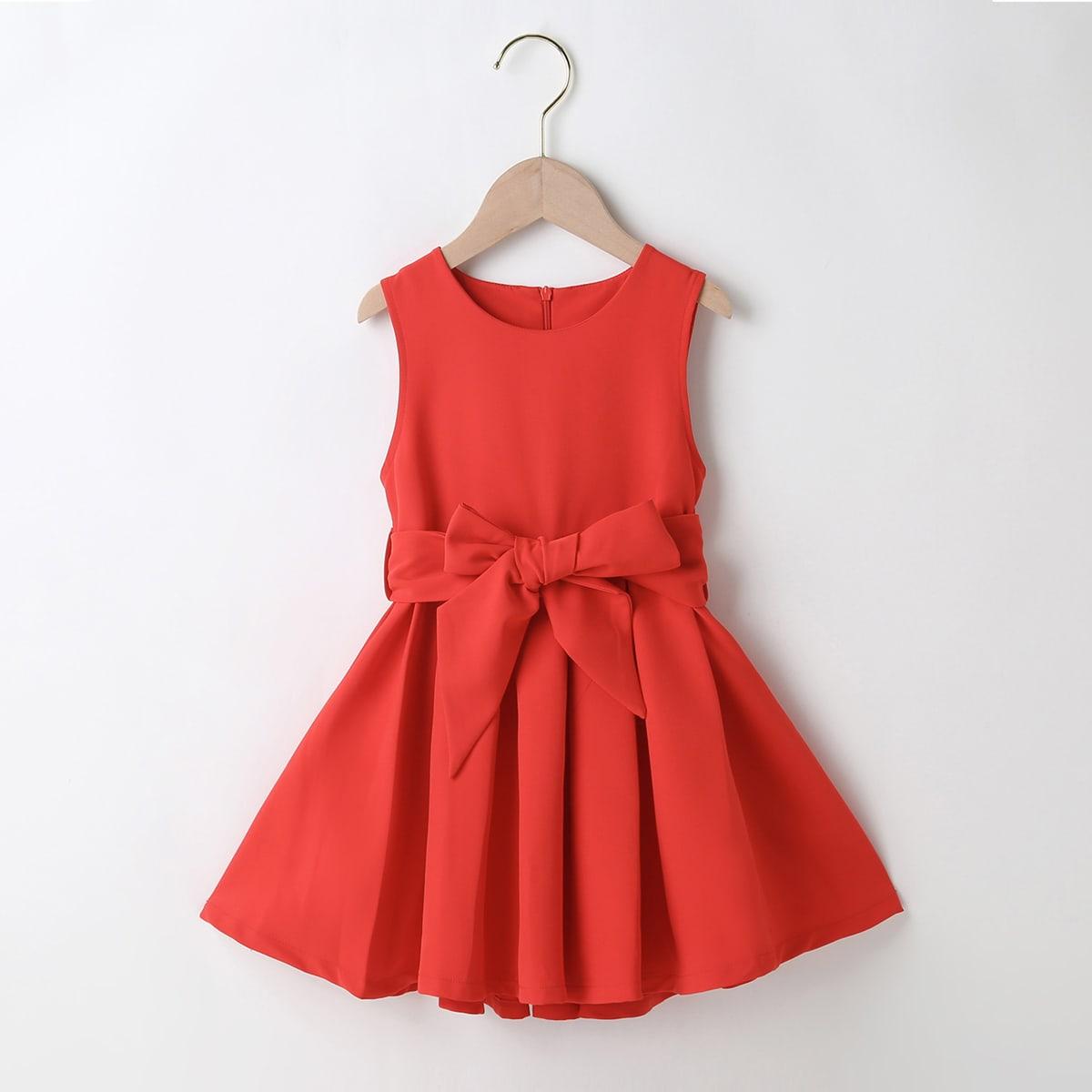 Однотонное платье с поясом для девочек