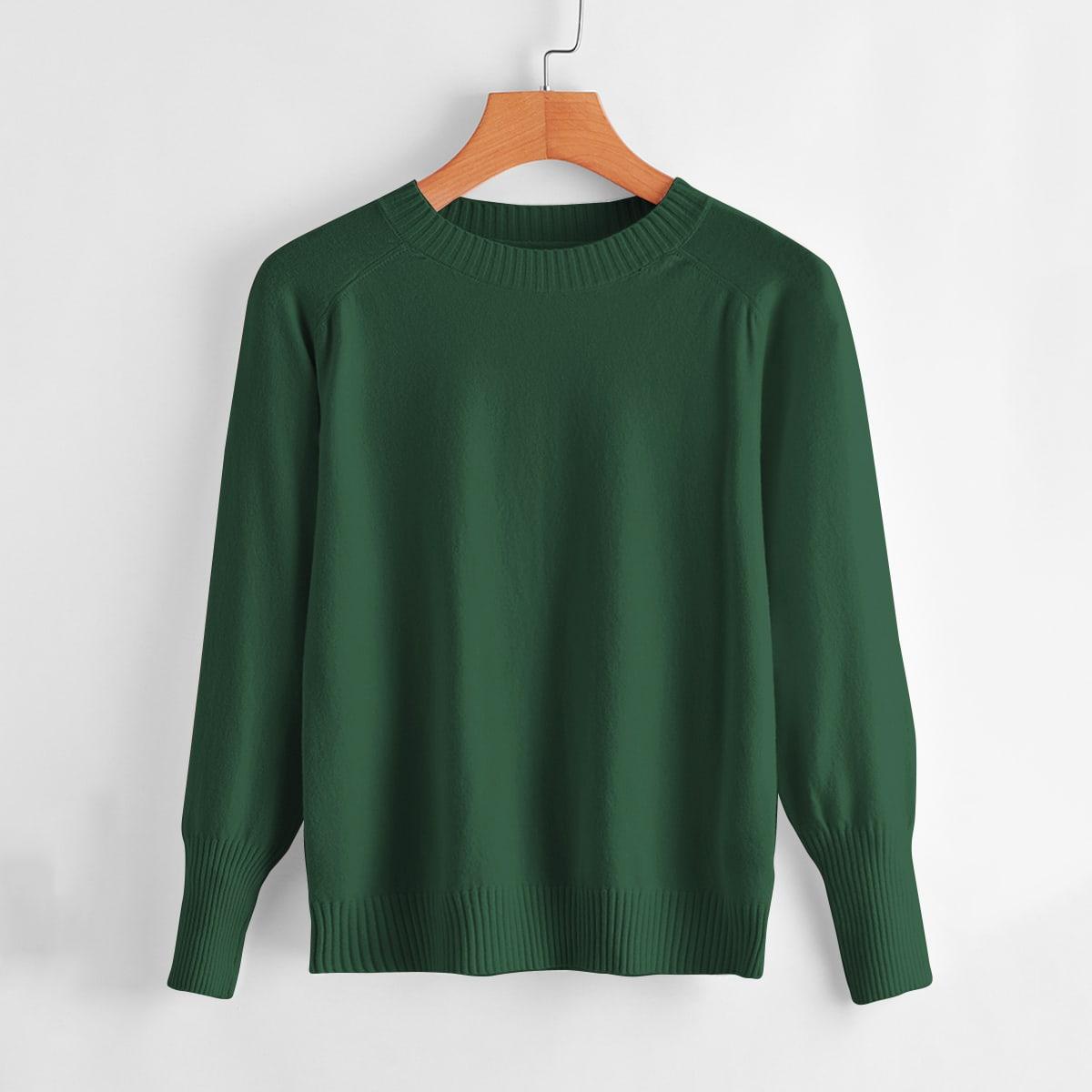 Однотонный свитер с рукавом реглан