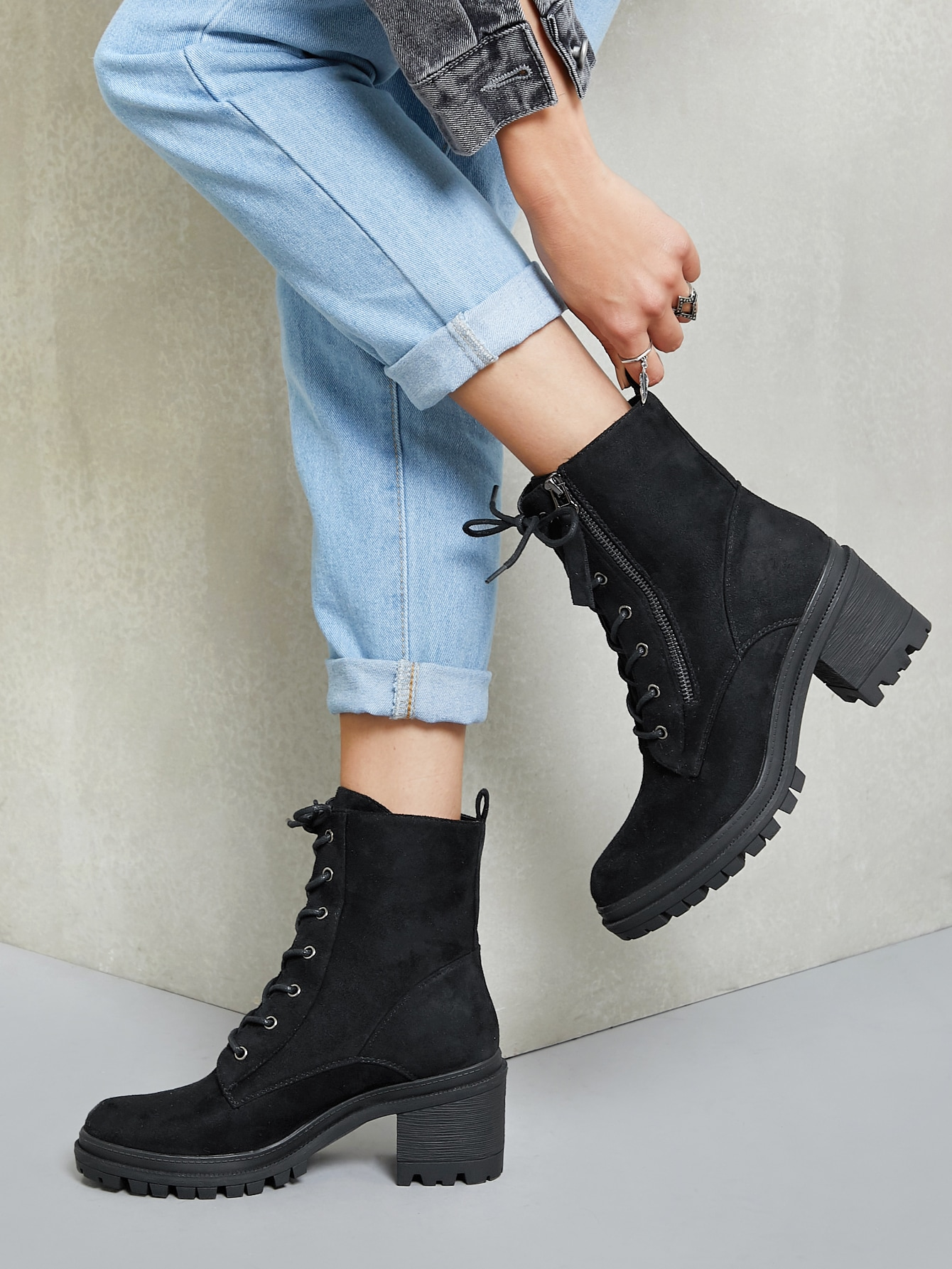 Lace Front Lug Sole Stacked Heel Combat Boots