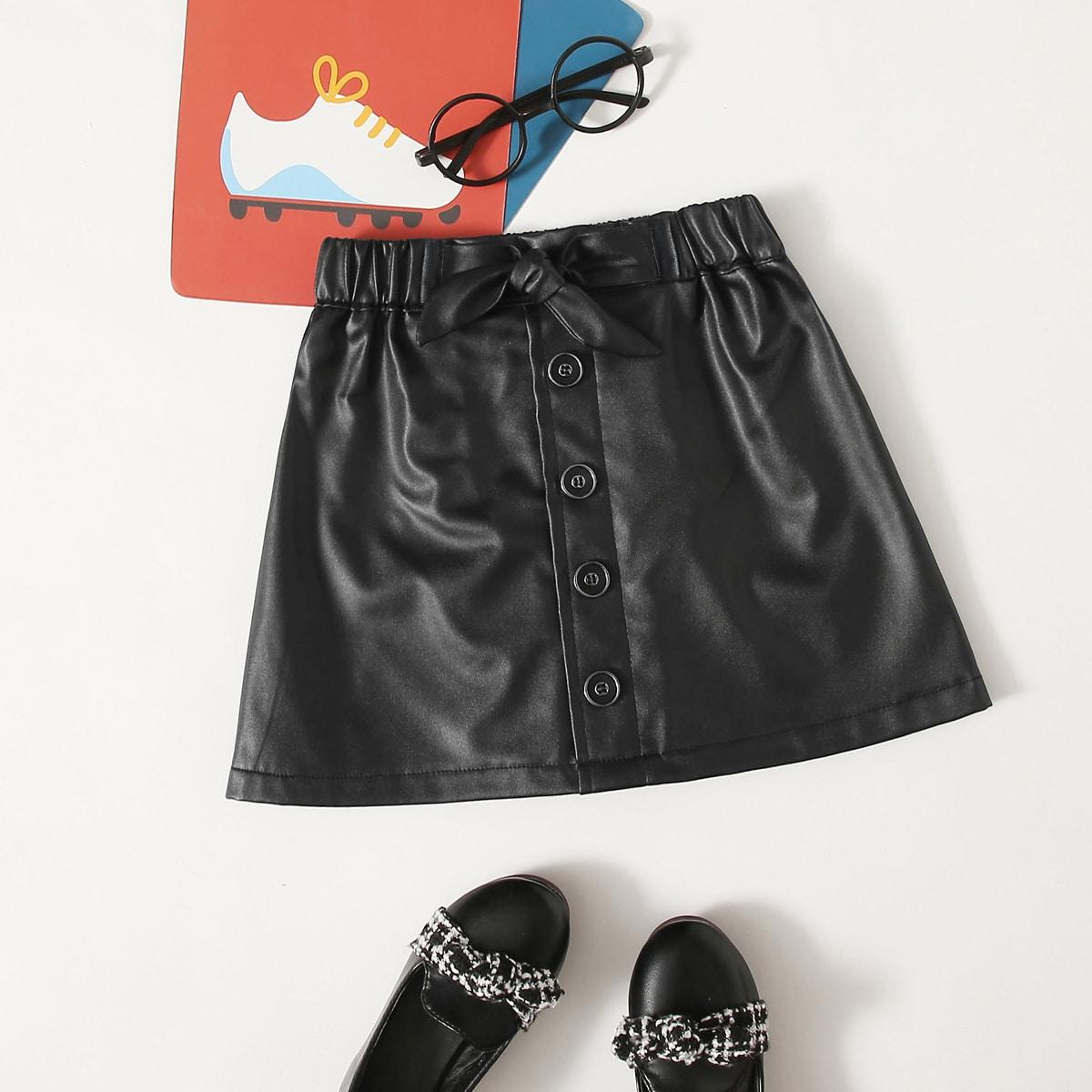 С батом перед одноцветный повседневный юбки для девочек