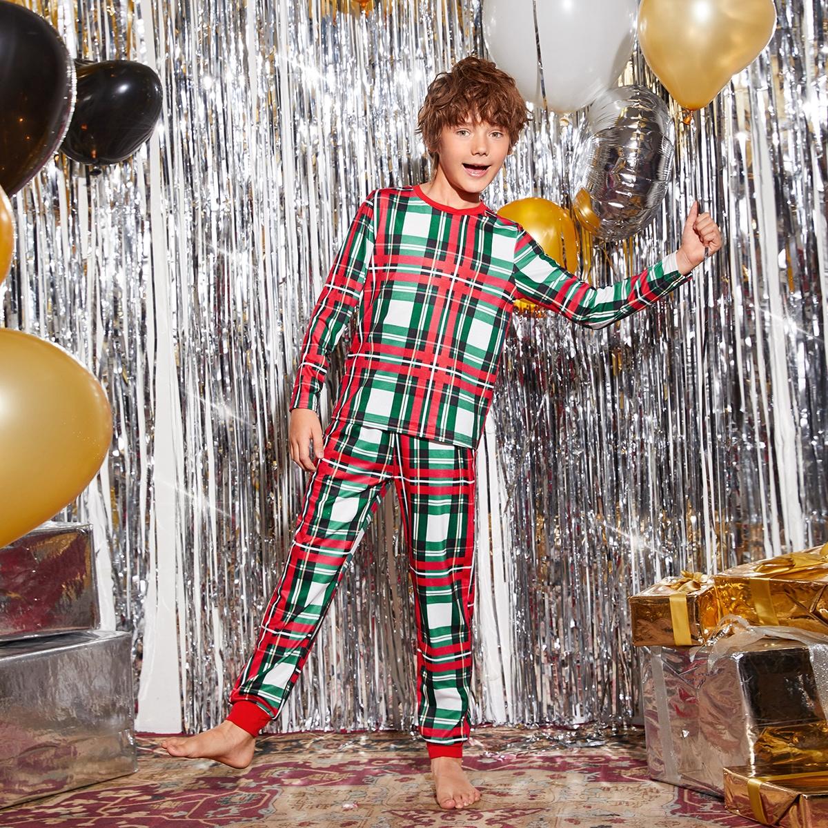 Рождество пижама в клетку для мальчиков