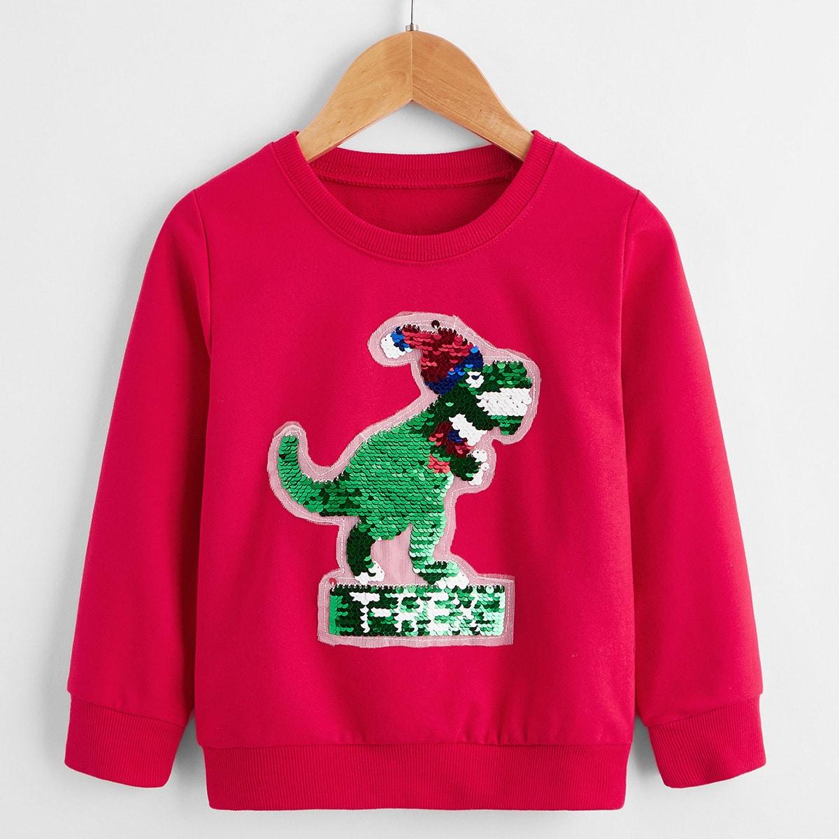 Свитшот с заплатой динозавра для мальчиков