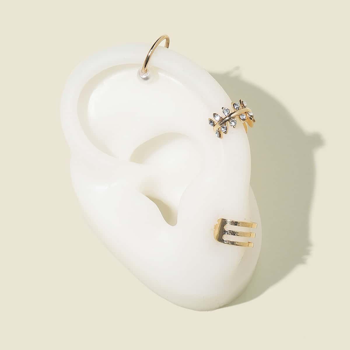 3шт серьги-каффы с искусственными жемчугами