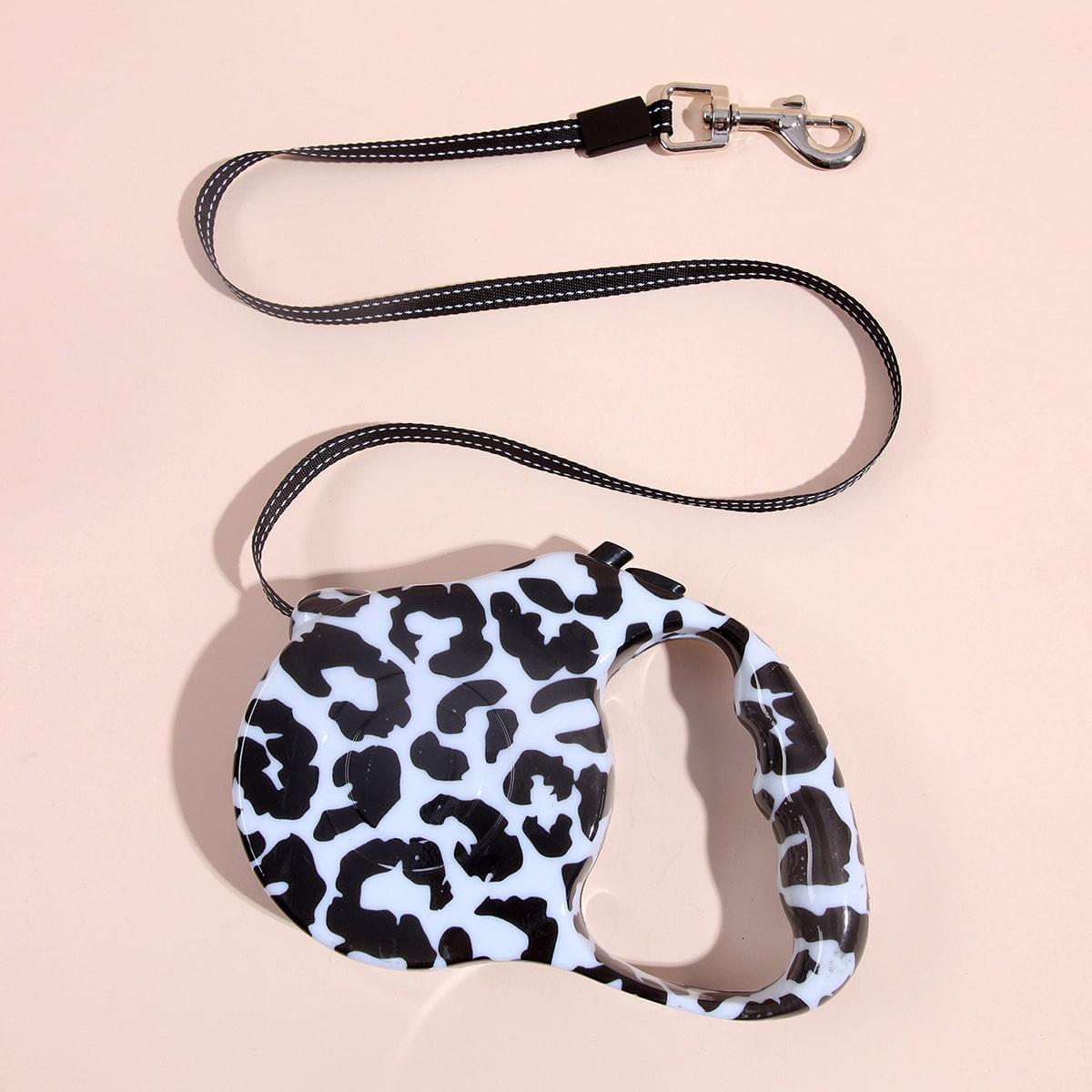 Einziehbare Hundeleine mit Leopard Muster