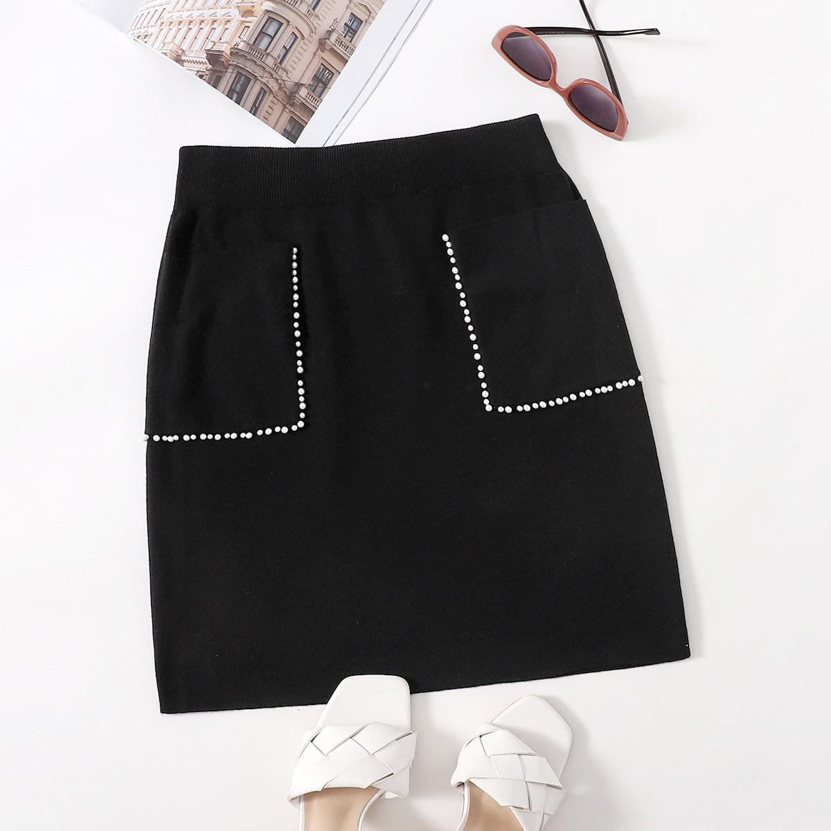 Трикотажная юбка размера плюс с жемчугами